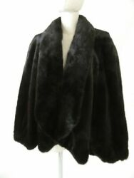 Carven Furs MINK Genuine with a bunch Large format Shawl Cape Brown Ladies