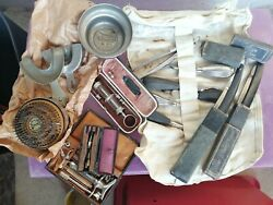 Antique Dental Dentist Tools Collection With Doctor's Bag, Pliers, Syringes Etc