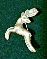 Vintage Unbranded Mexican Silver Leaping Reindeer Brooch Pin Hallmarked Mexico