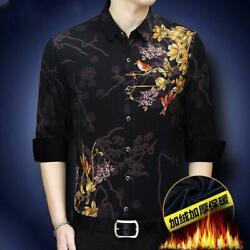 Menand039s Chinese Style Printed Shirts Button Front Slim Fit Casual Blouses Tops New