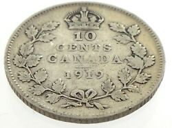 1919 Canada Ten 10 Cent Silver Dime Canadian Circulated George V Coin M067