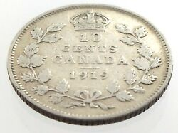 1919 Canada Ten 10 Cent Silver Dime Circulated Canadian George V Coin M078