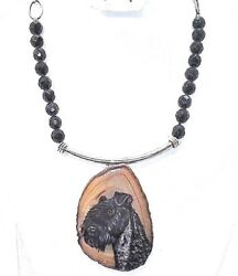 HANDMADE & Hand Painted Kerry Blue Terrier on SS Bail and Black faceted onyx 16