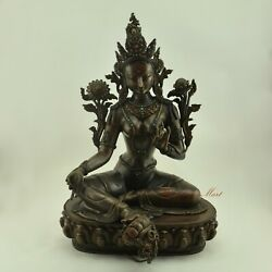 Fine Quality Hand Carved 18andrdquo Green Tara / Drolma Copper Statue From Patan Nepal