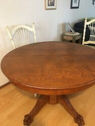 44andrdquo Antique Oak Round Claw Foot Table