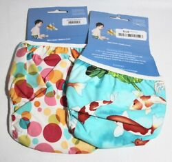 Bummis Swimmi Adjustable Cloth Diapers 2 Pack Bubbles Xl And Koi Fish S Free S/h