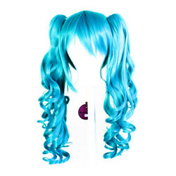 23'' Curly Pig Tails + Base Peacock Blue Cosplay Wig NEW