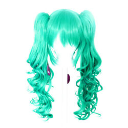 23'' Curly Pig Tails + Base Seafoam Green Blue Cosplay Wig NEW