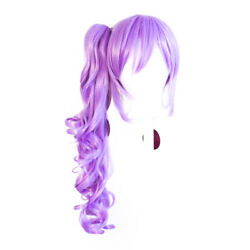 23'' Curly Pony Tail + Base Lavender Purple Cosplay Wig NEW