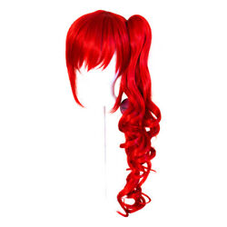 23'' Curly Pony Tail + Base Scarlet Red Cosplay Wig NEW