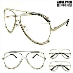 2 Pairs CLASSIC VINTAGE RETRO Style Clear Lens EYE GLASSES Silver Fashion Frame