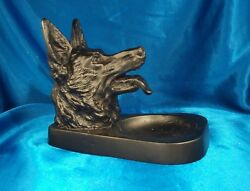 1930's Ronson A.m.w. Police German Sheppard Dog Ashtray, Large Size, Rare