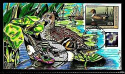 Rw68 15 Stamp 2001 Magnificent Northern Pintail Paslay Hand Painted Fdc