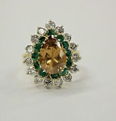Cubic Zirconia Dia. & Emerald Ring 18K YellowWhite Gold Size 8 *Charity
