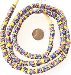 Amazing Antique Venetian Glass Yellow/red Band Millefiori African Trade Beads