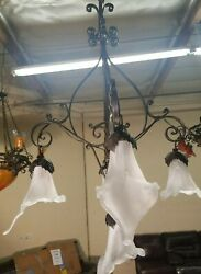 Chandelier Wrought Iron With Flowing Blown Glass Shades Art Deco Style Hand Made