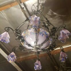 Wrought Iron Chandelier With Purple Multi Blown Glass Shades Art Deco Handmade
