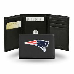 New England Patriots Embroidered Black Leather Tri Fold Wallet Billfold