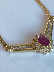 14k Solid Gold Diamond And Ruby Necklace Ladies Women Teen 17andrdquo
