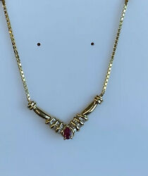 14k Gold Diamond And Baguettes And Ruby Necklace Ladies Women Teen 19 And039and039 Inch