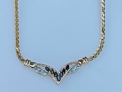 14k Gold + Diamond And Blue Sapphire V Necklace Ladies Women Teen 18and039and039 Inch