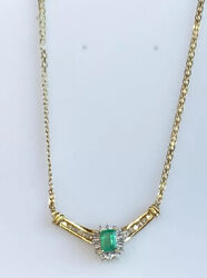 14k Gold + Real Columbian Emerald And Diamond Necklace Ladies Women Teen 16and039and039 Inch