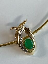 14k Gold Coloumbian Emerald And Diamond Omega Necklace Ladies Women Teen 14andrdquo Inch
