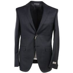 Nwt 2195 Canali Modern-fit Dark Gray Subtle Woven Check Wool Suit 38 R