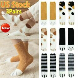 3pairs Winter Cat Claws Cute Thick Warm Sleep Floor Socks Funny Paw Xmas Gift