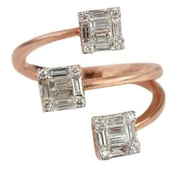 22x21x12 Mm Solid 18k Rose Gold Pave Baguette Diamond Wrap Ring