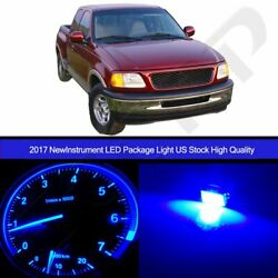 LED Package Instrument Cluster Blue Bulbs +Climate Control for 97-98 Ford F-150