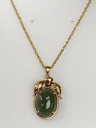 Vintage 14k Gold And Genuine Jade Necklace Ladies Women Teen 15and039and039 Inch