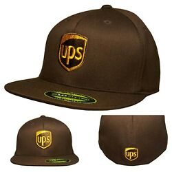 UPS FLEXFIT Style 6210Flat Bill Embroidered on Front & Back of the Baseball Hat