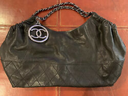Chanel Coco Cabas Medium Black Calfskin Leather Bag Quilted Chain CC Logo $2450 $1,595.00