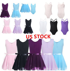 US Girls Ballet Wrap Tutu Dress Kids Dance Leotard Ballerina Dancewear Costume
