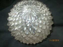 Vintage Diamond Pressed Clear Glass 5 Ball Lamp Shade Ceiling Or Swag 3 Fit