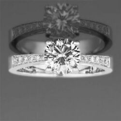DIAMOND ROUND RING WOMEN VVS1 D COLORLESS SIDE STONES 14K WHITE GOLD 1.33 CARAT