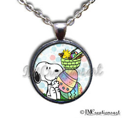 Snoopy Easter Colored Eggs Handmade Glass Pendant Necklace