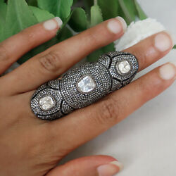 64x22 Mm Natural Pave 8.75ct Diamond Solid 925 Sterling Silver Long Knuckle Ring