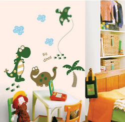 Happy Dinosaur Wall Sticker Cartoon Animals Dinosaur For Kid Sofar Home Decor $9.90