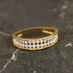20x5x19 Mm Solid 14k Yellow Gold Natural Pave Diamond Band Ring