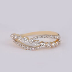 20x7x19 Mm Solid 14k Yellow Gold Pave Diamond Band Ring