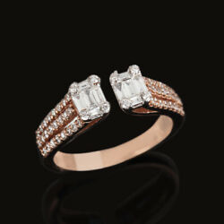 23x20x8 Mm Solid 18k Rose Gold Pave Baguette Diamond Ring