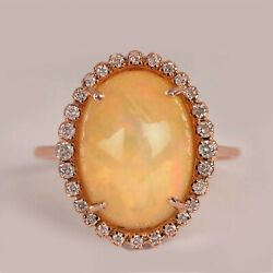 Opal Gemstone Ring Solid 14k Rose Gold Pave Diamond Fine Jewelry
