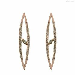 Solid 18k Rose Gold Pave Diamond Evil Eye Stud Earrings Jewelry New Collection