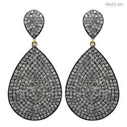 Pave Diamond 14k Gold 925 Sterling Silver Vintage Style Dangle Earrings Jewelry