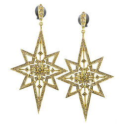 14k Yellow Gold Pave Diamond Star Dangle Earrings Gift For Wife Fine Jewelry Ac