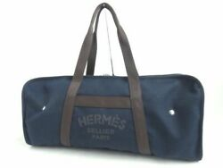 Hermes Groom Serie Button Logo Design Canvas Boston Bag Navy Made In France Pay