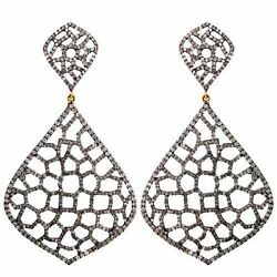 7.8ct Studded Diamond 925 Silver Antique Finish Dangle Earrings 14k Gold Jewelry