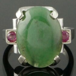 Custom Solid 14k White Gold, Green Apple Jade Cabochon And Ruby Estate Ring
